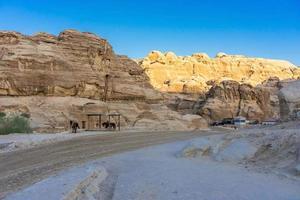 Narrow passage of rocks of Petra canyon in Jordan, 2018