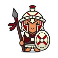 Cute roman knight mascot character holding spear and shield cartoon vector icon illustration