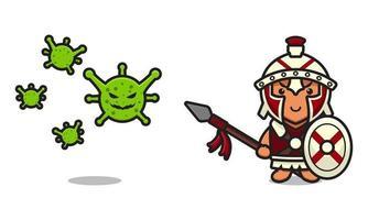 Ilustración de icono de vector de dibujos animados de virus de lucha de caballero romano lindo