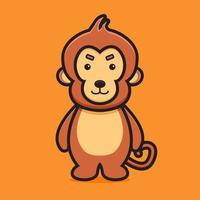 Ejemplo lindo del icono del vector de la historieta del carácter de la mascota del mono