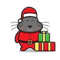 cute big mouse mascot character wearing santa costume vector