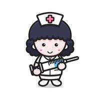 lindo personaje de enfermera con aguja de inyección vector
