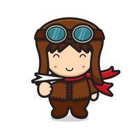 lindo personaje de mascota piloto jugando avión de papel vector
