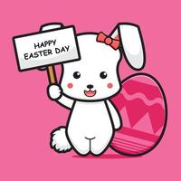 Cute rabbit character celebrated easter day  cartoon vector icon illustration