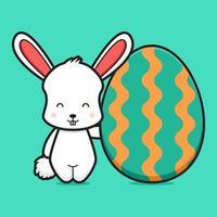 Cute rabbit character holding egg cartoon vector icon illustration