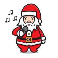 cute santa claus character singing vector