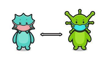 cute virus mascot character illustration wear mask maintain distance vector