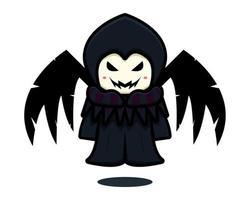Lindo personaje de mascota de bruja oscura con alas negras ilustración de icono de vector de dibujos animados