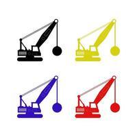 Set Of Wrecking Ball Crane On White Background vector