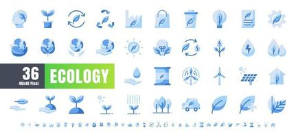 ector of 36 Ecology and Green Energy Power Monochrome Blue Icon Set. 48x48 and 192x192 Pixel.