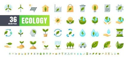 Vector of 36 Ecology and Green Energy Power Flat Color Icon Set. 48x48 and 192x192 Pixel.
