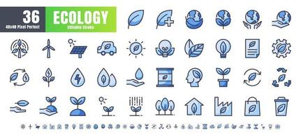 Vector of 36 Ecology and Green Energy Power Filled Monochrome Flat Color Line Outline Icon Set. 48x48 and 192x192 Pixel Perfect Editable Stroke.