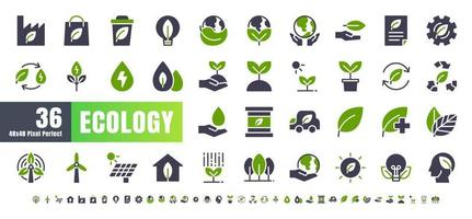 Vector of 36 Ecology and Green Energy Power Bicolor Solid Glyph Icon Set. 48x48 and 192x192 Pixel Perfect.