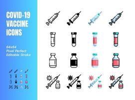 Vaccine for Covid-19, Coronavirus. 4 Styles Icons. Such Icons as Line, Outline, Solid Glyph, Flat, Filled. 64x64 Pixel Perfect. Editable Stroke. Vector.