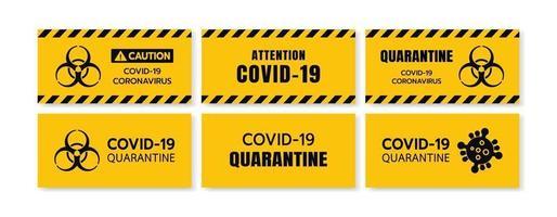 Yellow Caution Sign of COVID-19 Set. Warning Coronavirus Outbreak of Quarantine Area, Lock Down, Infection Virus Disease, Risk Area Zone. Biohazard Symbol With Euro Caution Tape. illustration EPS 10.