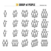 Group of People with add Plus and Delete. Modern Design Outline Icon Illustration Vector EPS 10.