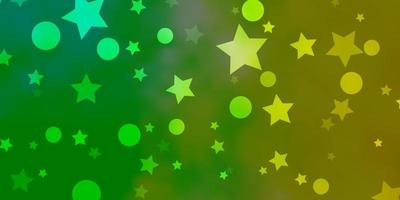 Light Green, Yellow vector pattern with circles, stars.