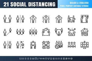 Vector of 21 Social Distancing, Coronavirus Disease 2019 Covid-19 Line Outline Icon Set. Stay Home, Work from Home. 64x64 Pixel Perfect Editable Stroke.