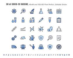 Simple Set of Covid-19, Coronavirus Vaccine Development Line Outline Icons. such Icons as Clinical Research, Antibody, Laboratory, Immune, Treatment, Injection, 48x4 Pixel Perfect. Editable Stroke.