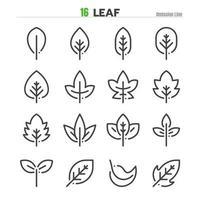 Leaf Outline Icon Set Illustration Vector EPS 10.