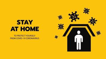 Vector of Shelter in Place or Stay at Home or Self Quarantine Yellow Background Sign with Virus. To Control Coronavirus or Covid-19 Spreading Infection by Government Policy.