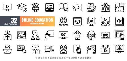 48x48 Pixel Perfect. Online Education Line Outline Icon Set Vector. Editable Stroke.