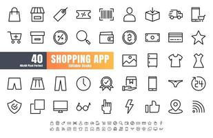 48x48 Pixel Perfect of Ecommerce Online Shopping App User Interface. Such as Shop, Warrnaty, Clothing, Cart, Delivery, Price Tag, E-Wallet. Thin Line Outline Icons Vector. Editable Stroke.