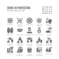 Simple Set of Covid-19 Protection Solid Glyph Icons. Icons as Guidance Protective Measures, Coronavirus Prevention, Hygienic Healthcare, Solution, Awareness, Hands Wash, Wear Mask etc. 64x64 Pixel. vector