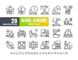conjunto simple de estadía y trabajo desde casa en caso de coronavirus 2019 o crisis del covid-19. como trabajar en sala, dormitorio, baño. vector de iconos de contorno de línea delgada. 64x64 píxeles perfecto. trazo editable.