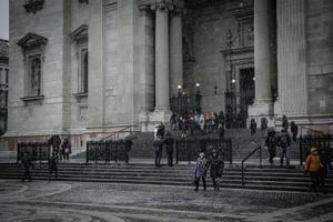 Budapest, Hungary 2019-- People at the stairs of St. Stephen's Basilica