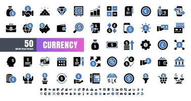 Vector of 50 Currency FInancial Balck and Blue Solid Glyph Icon Set. 48x48 Pixel Perfect.