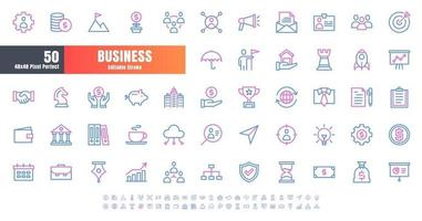 Vector of 50 Business and Financial Bicolor Line Outline Icon Set. 48x48 Pixel Perfect Editable Stroke.