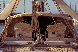 Modern sailing yacht steering wheels