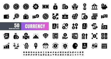 Vector of 50 Currency Financial Black Solid Glyph Icon Set. 48x48 Pixel Perfect.