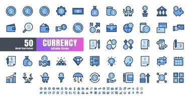 Vector of 50 Currency FInancial Filled Color Blue Monochrome Line Outline Icon Set. 48x48 Pixel Perfect Editable Stroke.