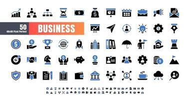 Vector de 50 negocios y financieros bicolor azul y negro conjunto de iconos de glifo sólido. 48x48 píxeles perfectos.