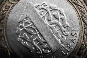 Turquía 2016 - primer plano de la moneda de la lira turca foto