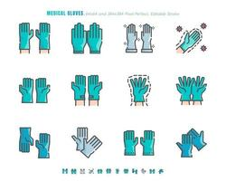 Simple set of Medical Gloves. Covid-19 or Coronavirus Disease 2019 Prevention Related. Filled Outline Flat color Icon Set. 64x64 Pixel Perfect. Editable Stroke. Vector Illustration EPS 10.