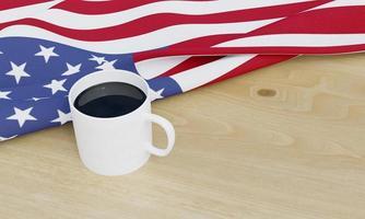 bandera americana y cafe