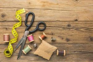 Sewing items with scissors photo