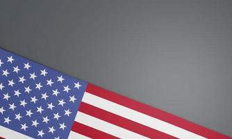 bandera americana sobre un fondo gris foto