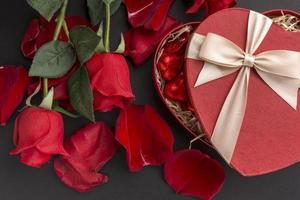 Roses and chocolates photo