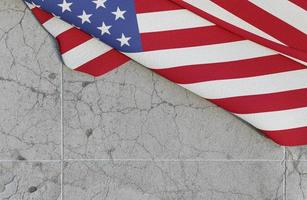 American flag on concrete photo