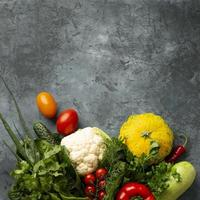 Mixed vegetables on concrete