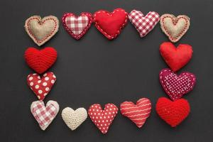 marco de corazones de fieltro foto