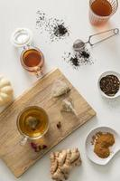 Ginger tea flat lay