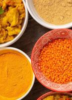 Top view of Indian foods in bowls