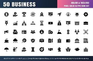 Vector of 50 Business Solid Glyph Icon Set. 48x48 Pixel.