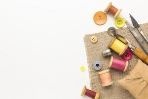 Sewing items with copy space photo
