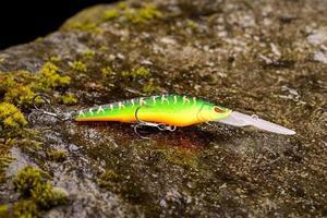 Wobbler señuelo de pesca sobre una piedra mojada con musgo